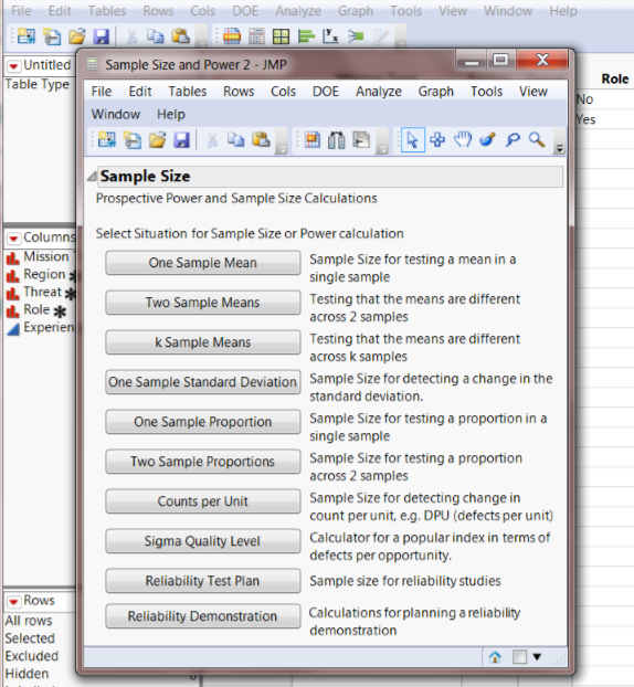 Power in JMP Interface